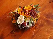 Dekorácie - Jesenné srdce so slnečnicou, tekvicou - 9784449_