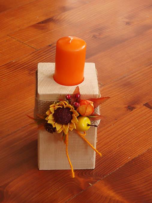 Drevený jesenný svietnik s jutou a slnečnicou a sviečkou 12cm