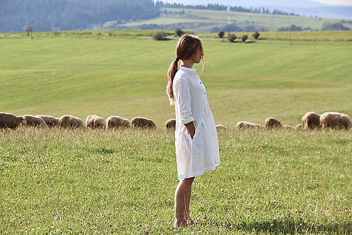 Šaty - Dámske ľanové košeľové šaty - 9788293_