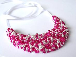 Náhrdelníky - Bielo-ružový náhrdelník - 9788889_