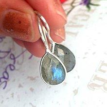 Náušnice - Labradorite Teardrops Earrings Silver Plated / Postriebrené náušnice s labradoritom v tvare slzy /0108 - 9786508_