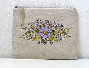 Kabelky - Plátená kabelka-listová-ručne maľovaná - 9786545_