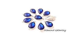 Komponenty - Štrasový medzikus 10 x 14 mm slzička - Kráľovská modrá - bez štrasu - 9789374_