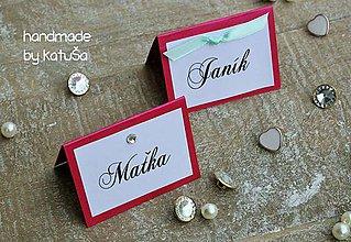 Grafika - svadobné menovky s kamienkom - 9786760_