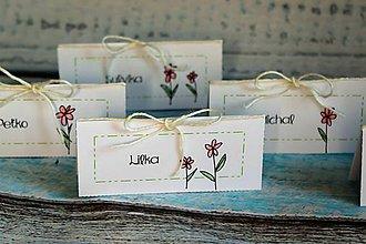 Grafika - svadobné menovky s kamienkom (ružne kreslené kvietky) - 9786765_