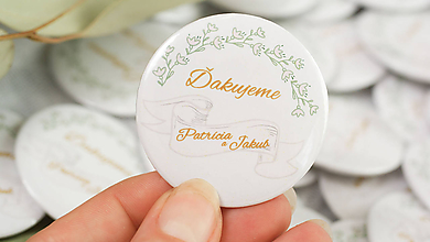 Darčeky pre svadobčanov - Svadobný odznak, svadobná brošňa, button - 9788183_