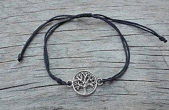 Náramky - Náramok na šnúrke - strom života (Čierna) - 9787059_