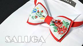 - Folklórny pánsky červený motýlik - folkový - ľudový  (motýlik s vreckovkou) - 9789130_