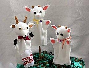 Hračky - Maňuška. Zvieratko Koza Líza a jej dve detičky kozliatka. - 9786480_