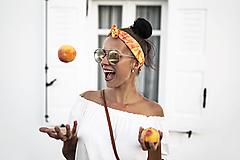 Šatky - Hodvábna šatka do vlasov/čelenka-Orange - 9788588_