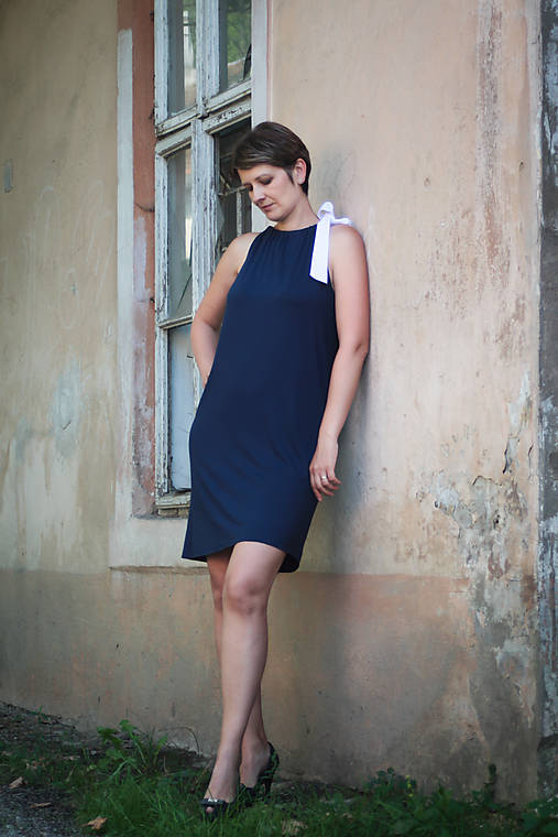 Šaty - Šaty - tmavomodré s mašľou - 9787440_
