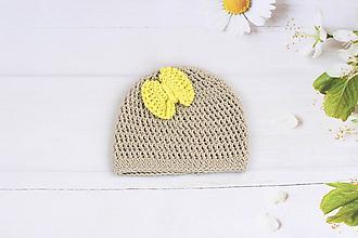 Detské čiapky - Béžovo-žltá letná čiapka EXTRA FINE - 9787664_