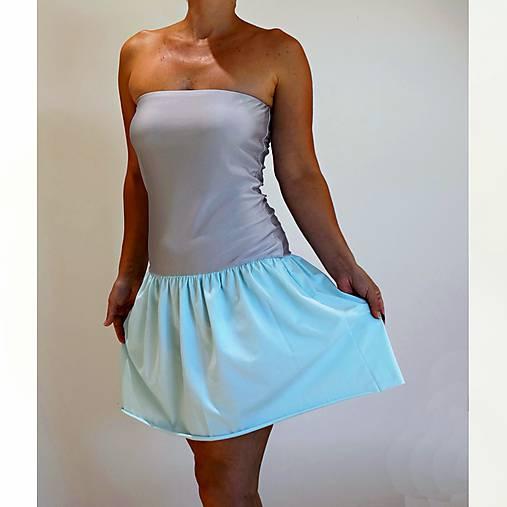 Šaty - Happy mini šaty šedo-mätové - 9786584_
