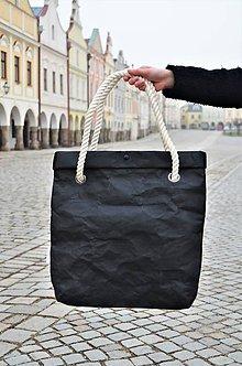 Veľké tašky - Papierová kabelka black // rope - 9786904_