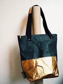 Veľké tašky - Papierová kabelka // black gold - 9787227_
