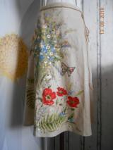 """Sukne - Ľanová sukňa """"Maky, paprade a lúčne kvety"""" - 9790372_"""