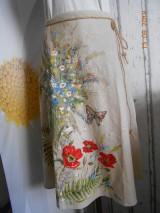 """Sukne - Ľanová sukňa """"Maky, paprade a lúčne kvety"""" - 9790376_"""