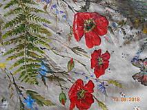 """Sukne - Ľanová sukňa """"Maky, paprade a lúčne kvety"""" - 9790382_"""