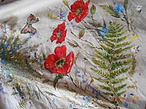 """Sukne - Ľanová sukňa """"Maky, paprade a lúčne kvety"""" - 9790385_"""
