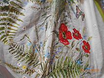 """Sukne - Ľanová sukňa """"Maky, paprade a lúčne kvety"""" - 9790386_"""