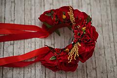 Ozdoby do vlasov - Ľudová kvetinová parta v červenom - 9789480_