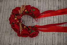 Ozdoby do vlasov - Ľudová kvetinová parta v červenom - 9789481_