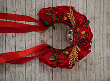 Ozdoby do vlasov - Ľudová kvetinová parta v červenom - 9789482_