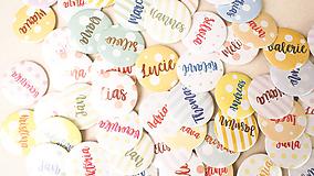- Svadobný odznak, svadobná brošňa, button (odznak 44 mm - personalizovaný) - 9790229_