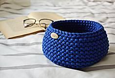 Košíky - Pletený košík - kráľovská modrá (Veľkosť S) - 9790908_