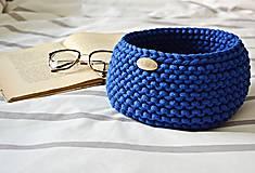 Košíky - Pletený košík - kráľovská modrá (Veľkosť S) - 9790909_