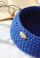Košíky - Pletený košík - kráľovská modrá (Veľkosť S) - 9790910_