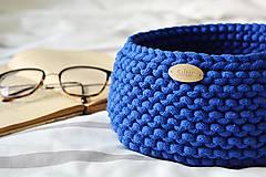 Košíky - Pletený košík - kráľovská modrá (Veľkosť S) - 9790915_