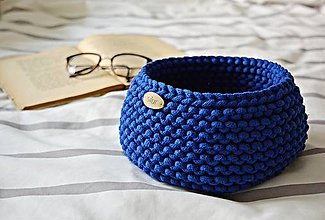 Košíky - Pletený košík - kráľovská modrá - 9790908_