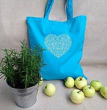 Nákupné tašky - Moja srdcovka...bavlnená taška (Tyrkysová) - 9792317_