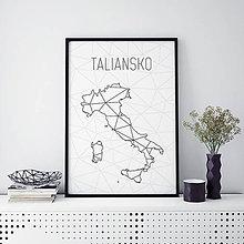 Grafika - TALIANSKO, minimalistická mapa - 9792243_