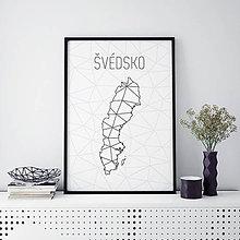 Grafika - ŠVÉDSKO, minimalistická mapa - 9792253_