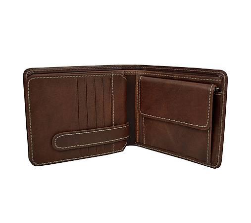 Peňaženka z prírodnej kože v hnedej farbe, ručne tamponovaná