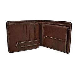 Tašky - Peňaženka z prírodnej kože v hnedej farbe, ručne tamponovaná - 9792125_