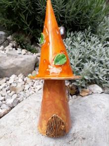 Dekorácie - Oranžový záhradný keramický domček - 9792599_
