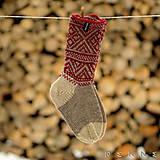 Obuv - Ponožky z ovčej vlny STRÁŽOV  (Sivo - bordová (42-43, 44-45, 46-47)) - 9791567_