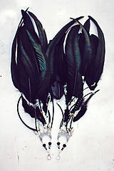 Náušnice - Čierné bohémske náušnice (1pár) - 9791261_