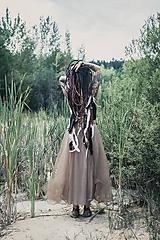 Ozdoby do vlasov - Prírodna hippie čelenka z eko kože a peria - 9791404_