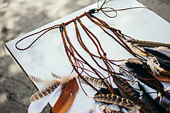 Ozdoby do vlasov - Prírodna hippie čelenka z eko kože a peria - 9791407_