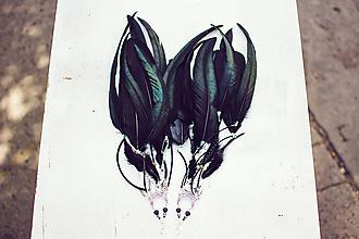 Náušnice - Čierné bohémske náušnice (1pár) - 9791263_