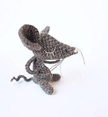 Hračky - myška z vlny (tmavo-sivá) - 9789717_