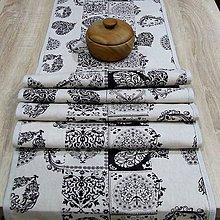 Úžitkový textil - Srdiečková romantika čierna na režnej - stredový obrus 187x40 - 9789585_