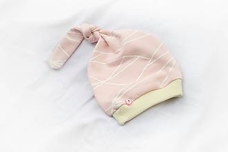 Detské čiapky - Baby čiapka Lines pink - 9792682_