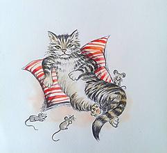 Kresby - kocúr a myši, čo nie sú v skrýši... :-) - 9789787_