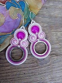 Náušnice - Šujtášové náušnice s kruhy (Ružové) - 9790750_