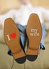 Iné doplnky - Nálepky na svadobné topánky - I love my wife - 9789648_